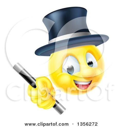 clipart of a 3d yellow male smiley emoji emoticon magician