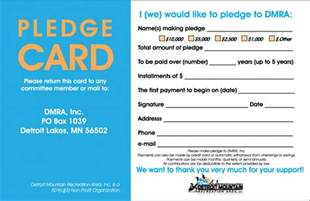 donation cards template looking for 5 year pledges detroit mountain