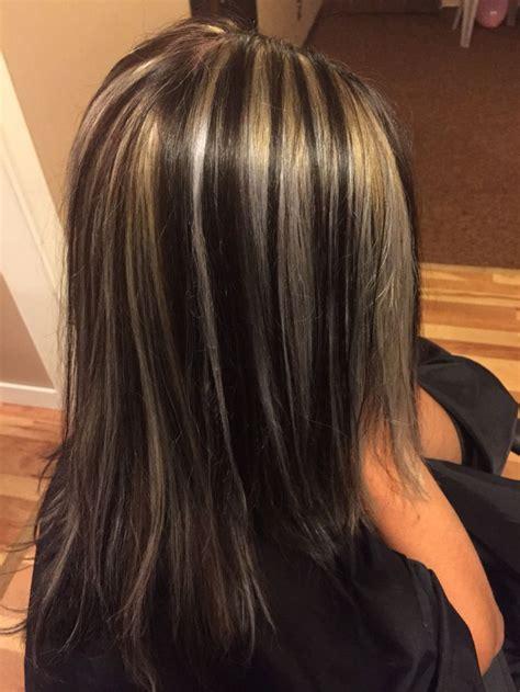 chunking highlights dark hair pictures dark brown with blond chunks hair pinterest dark