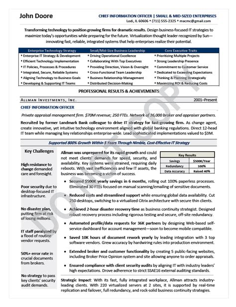 Executive Resume Sles Cio Cio Resume Writing Sle Top Executive Resumes The Career Artisan