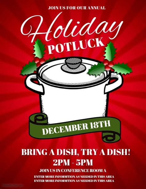 free templates for potluck flyers holiday potluck template postermywall