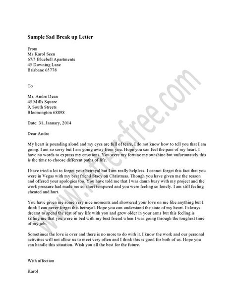 up letter for boyfriend exle writing sad letter the best way inform your partner