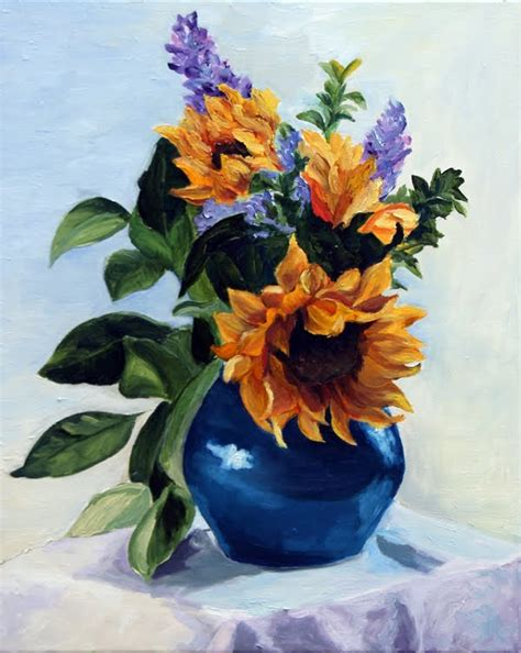 painting sunflowers in a blue vase by