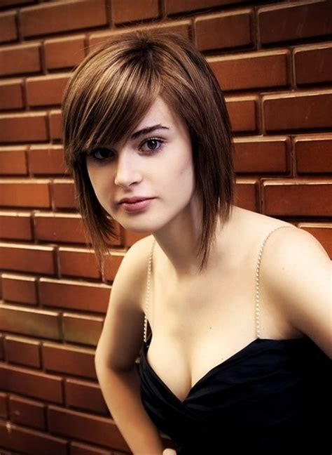 pictures of a line cuts with side swept bangs globell fashion cute short bob haircut with side swept bangs
