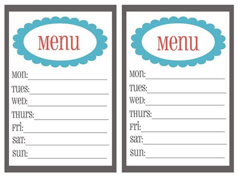 printable menu template free menu planning templates clipart best