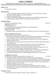 resume sle for an administrative assistant susan