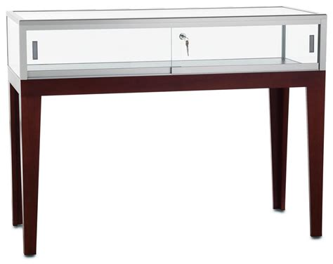 glass display wood desk display with wood legs mahogany finish