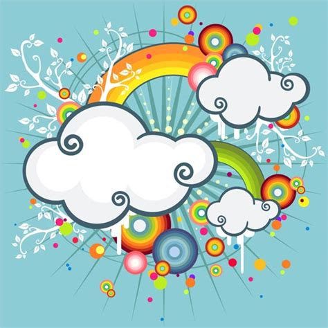 Imagenes Vectoriales Eps | clouds and rainbow illustration