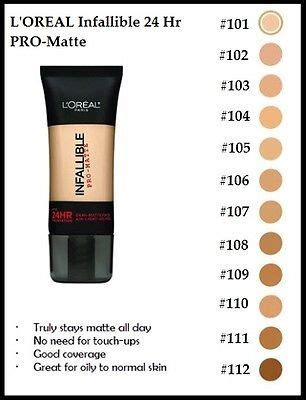 L Oreal Infallible Pro Matte Foundation new l oreal infallible 24hr pro matte liquid foundation 1