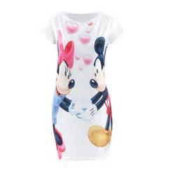 Dress Casual Mickey Mouse s 3xl white polka dot mickey mous minnie print summer mini t shirt dresses boho
