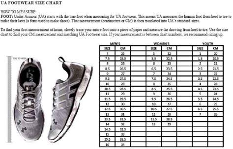 shoe size chart under armour under armour shoe size chart men s ua threadborne