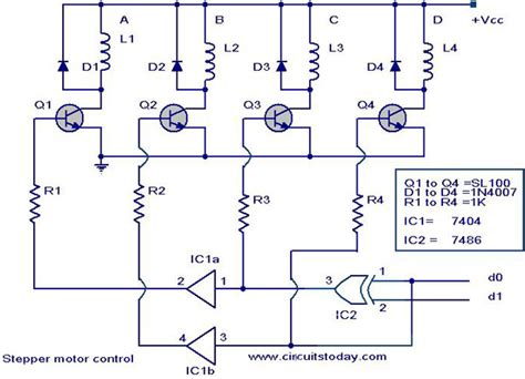 stepper motor controller driver circuit with circuit design