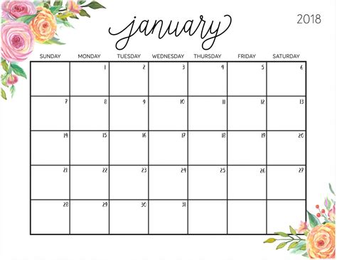 printable monthly planner january 2018 free printable 2018 calendar with weekly planner