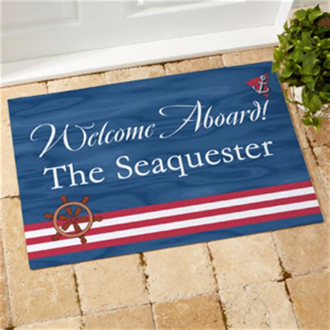 personalized boat floor mat welcome aboard design