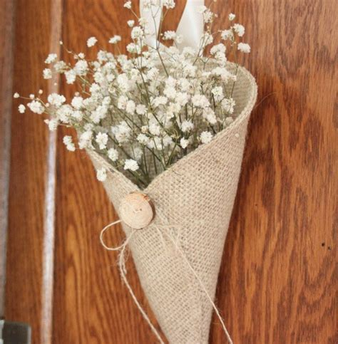 Khaki burlap pew cone with reclaimed wood button / rustic