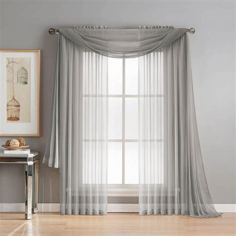 curtain scarfs window elements diamond sheer voile 56 in w x 216 in l