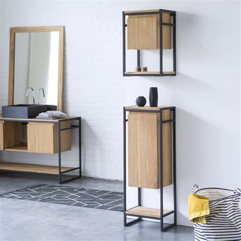 tikamoon metal and teak bathroom storage set michal 170