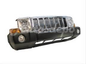 06 10 jeep commander front bumper blk grille chr headlight