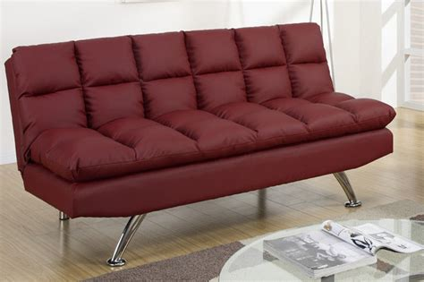 cheap futons los angeles poundex f7017 red twin size leather sofa bed steal a