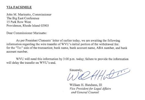 Withdrawal Letter To College big east says letter sent by wvu not proper withdrawal