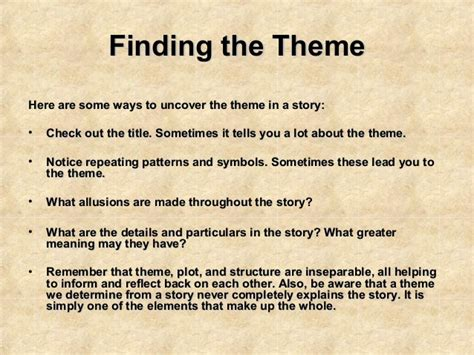 themes for a good story analyzing theme