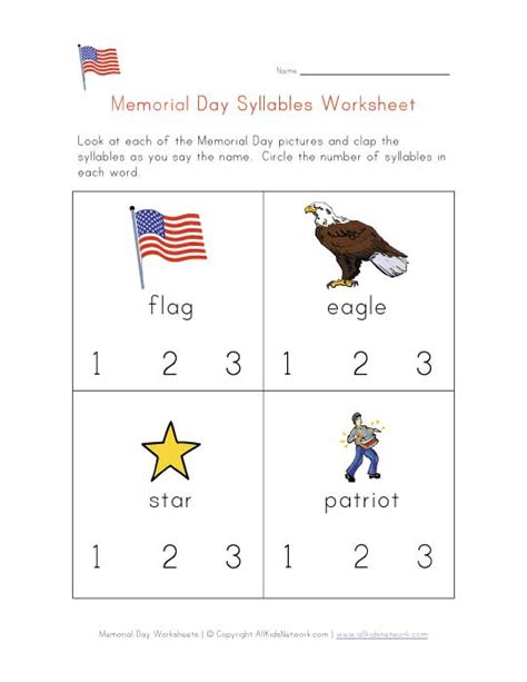 Memorial Day Worksheets by Memorial Day Syllables Worksheet