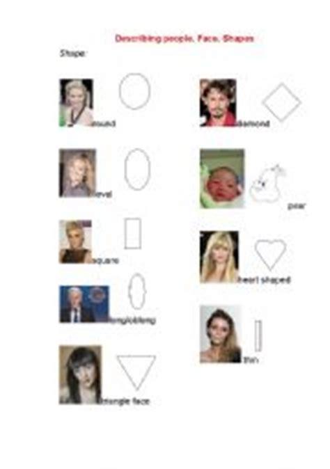 describing someones face shape english worksheets describing people pictionary face