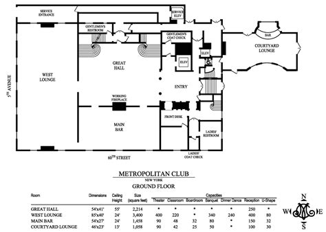 nightclub floor plans floor plans capacities metropolitan club of new york