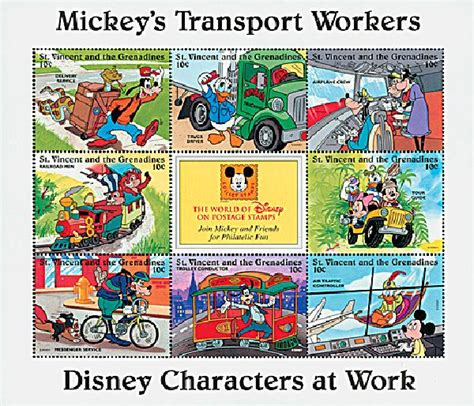 St Vincent Disneys Mickey Meets The Captain Of The Guard Ms 2 st vincent 1996 mickey transport workers for sale at