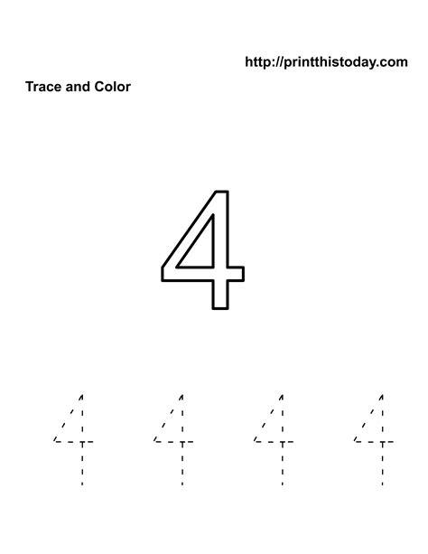 number 4 tracing worksheets free kindergarten math worksheets number four 4