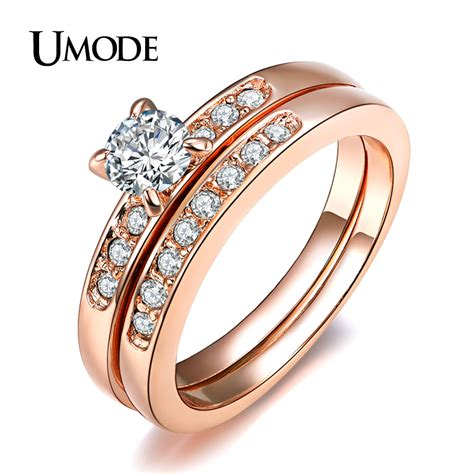 Wedding Ring Z 5 by Umode Gold Plated With Pave Band 0 5ct Brilliant