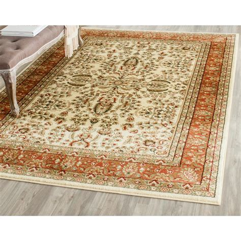 10 X 14 Area Rugs Safavieh Lyndhurst Ivory Rust 10 Ft X 14 Ft Area Rug Lnh214r 10 The Home Depot