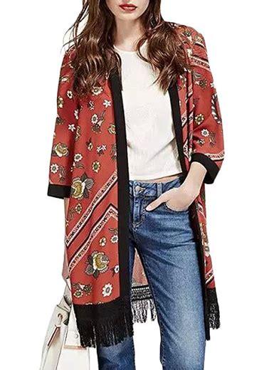 Daster Kimono India womens kimono duster black fringe asian print