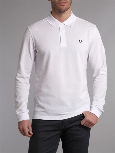 Polo Longsleeves Shirt fred perry slim fit sleeve polo shirt in white for lyst