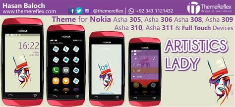nokia asha 311 all themes artistics lady theme for nokia asha 305 asha 306 asha