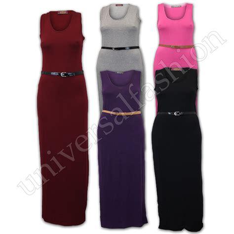 Maxi Belt Jersey maxi dress sleeveless jersey midi stretch
