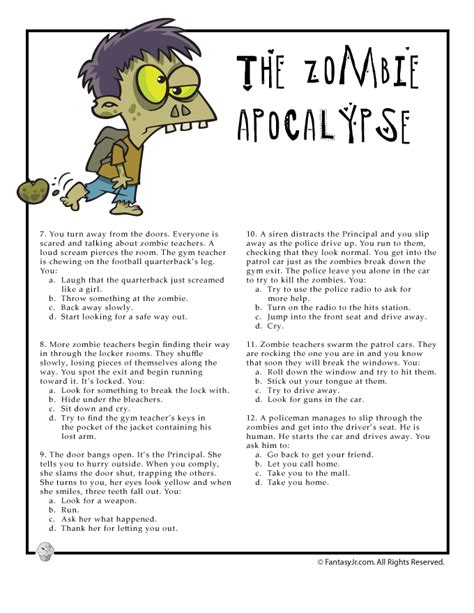 printable art quiz fun quiz page 2 for would you survive a zombie apocalypse
