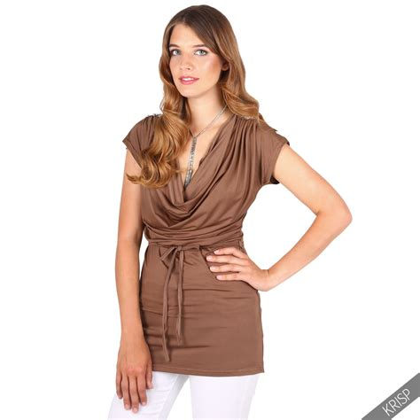 Low Cut Blouse At Work by Womens Cowl Neck Drape Low Cut Tie Belt Silk Jersey