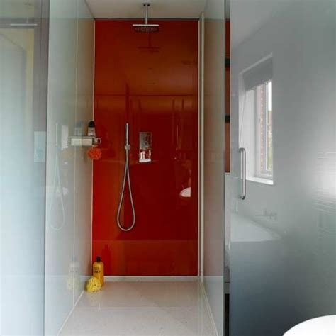 glass bathroom panels add sleek glass panels how to renovate on a budget 20