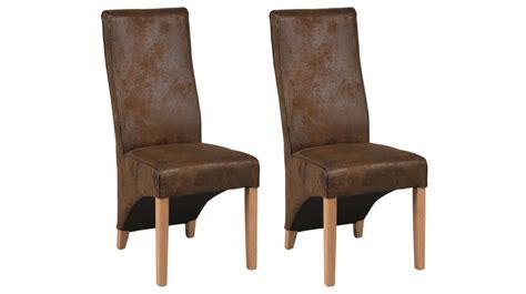 chaises marron lot de 2 chaises en microfibre marron aspect cuir vieilli