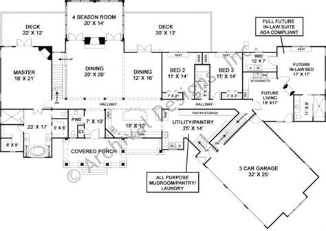 luxury ranch house plan with accessible in suite