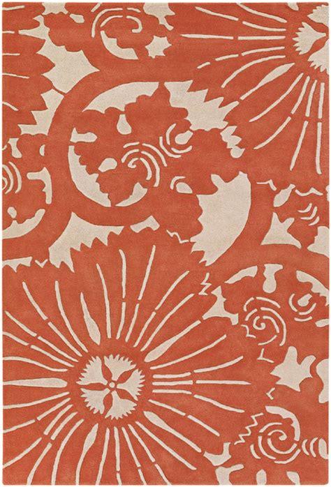 orange floral rug counterfeit floral burst rug in orange by chandra rugs