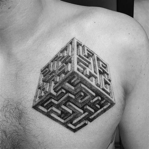 maze tattoo designs maze cube dotwork blackwork