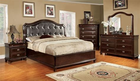 arden brown cherry faux leather platform bedroom set cm7065q bed furniture of america