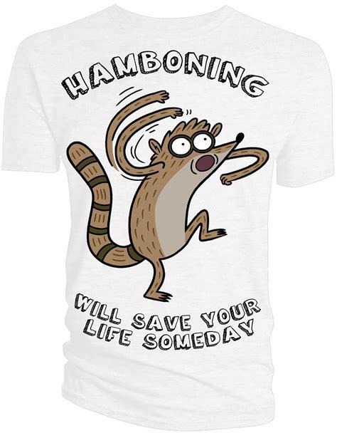 regular show rigby hamboning regular show t shirts hamboning forbiddenplanet com