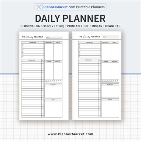 printable daily planner inserts daily planner 2018 planner personal size inserts