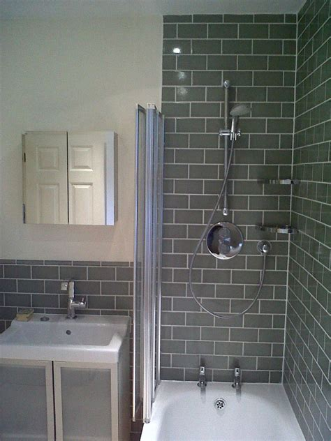 tile ideas for bathroom walls shower with grey brick tile effect make your home design dreams come true read reviews of