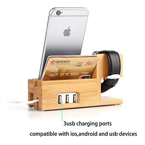 apple and iphone charging station bamboo wood charger stand charging dock for iwatch