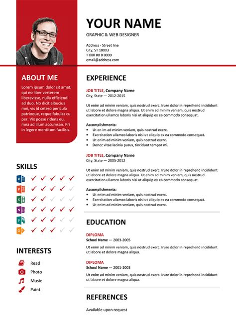 layout cv word bayview free resume template microsoft word red layout