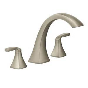 moen voss brushed nickel two handle high arc tub